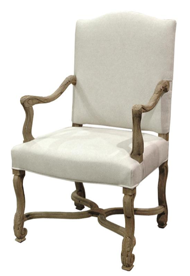 Dafny French Country Empire Camel Back Dining Arm Chair , Kathy Kuo Home
