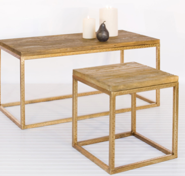 Wood Top and Gold Leaf Coffee Table, Worlds Away