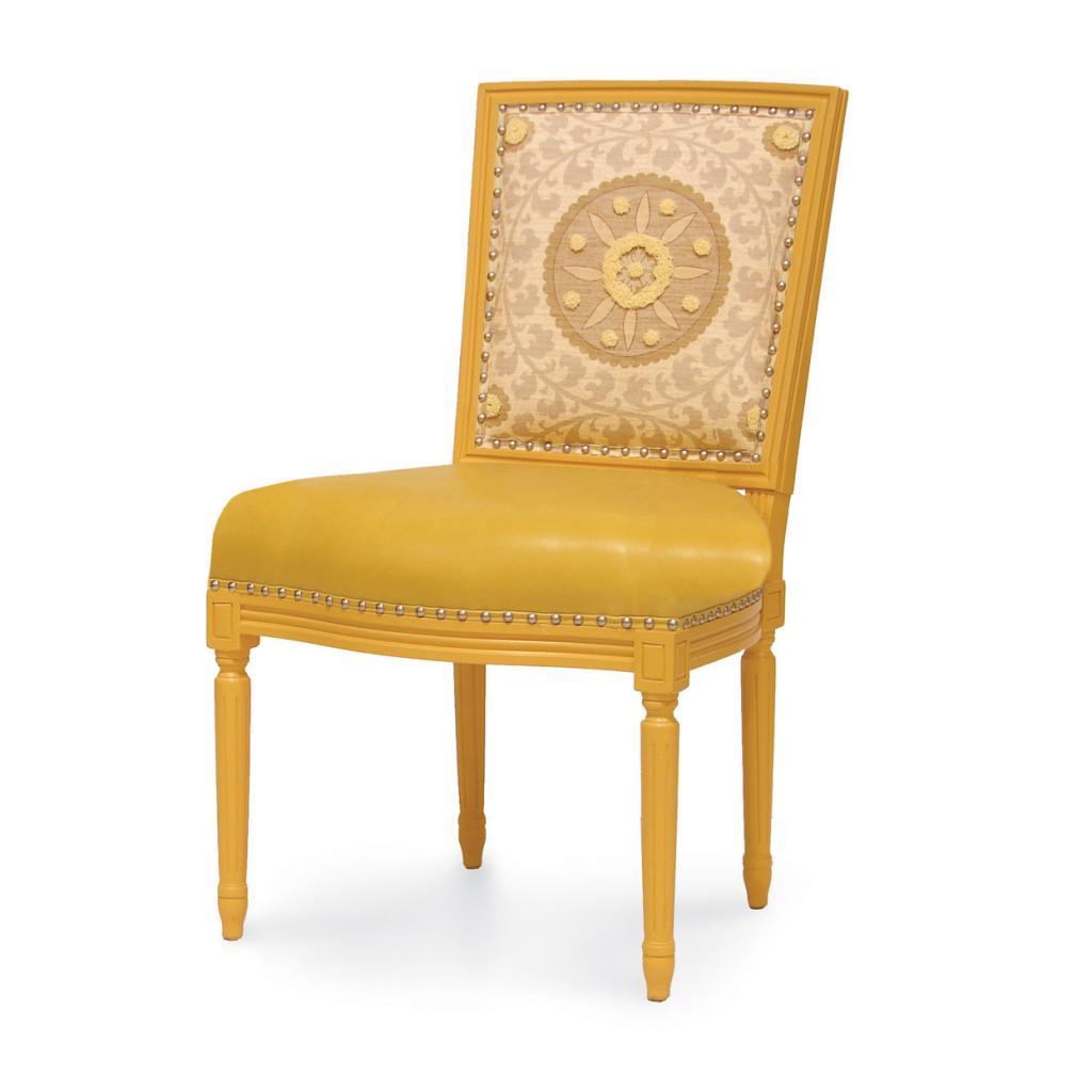Lyon Square Back Side Chair  (Yellow Medallion), Palecek