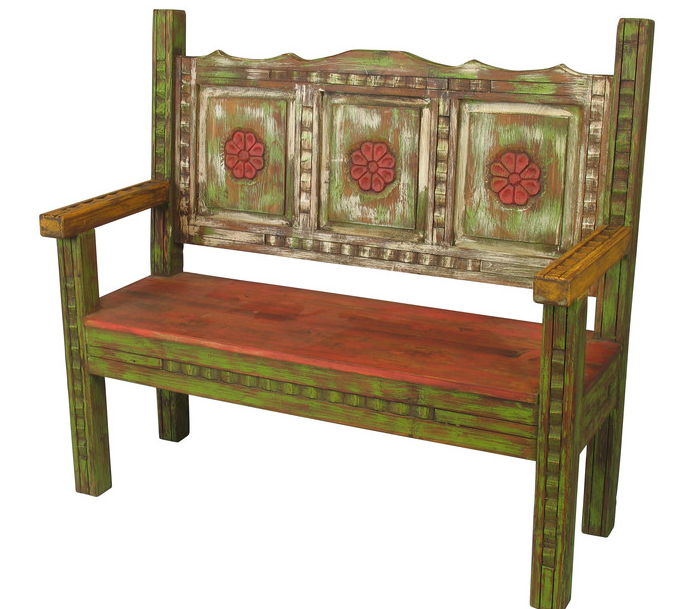 Old Wood Carved & Painted Bench, Direct From Mexico