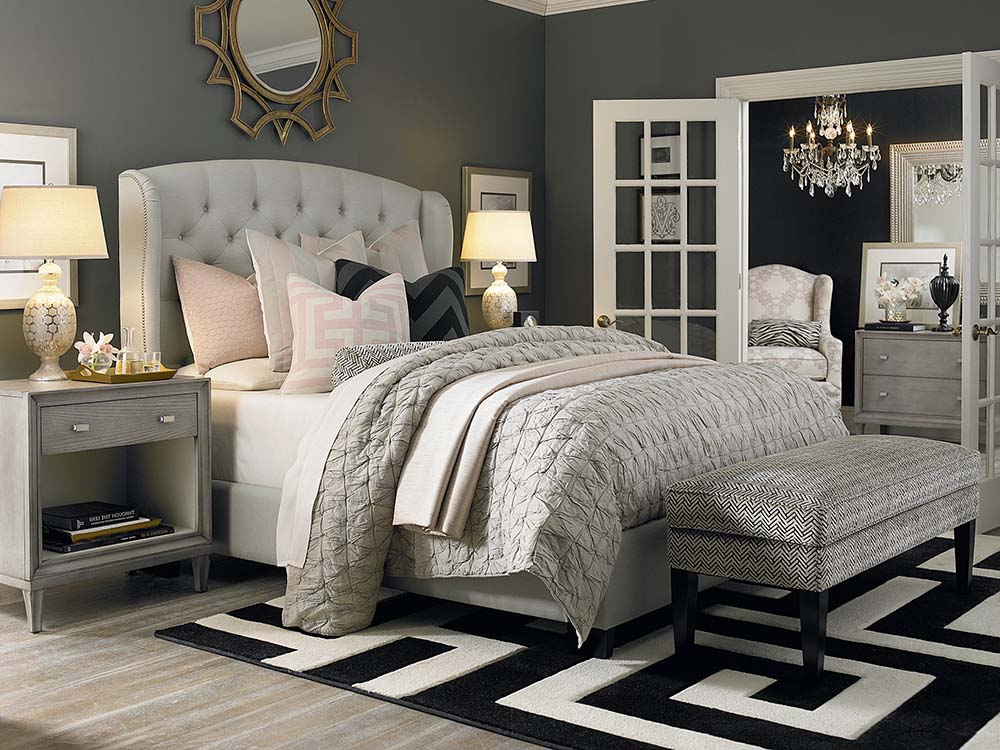 Custom Uph Beds Paris Arched Winged Bed, Bassett Furniture