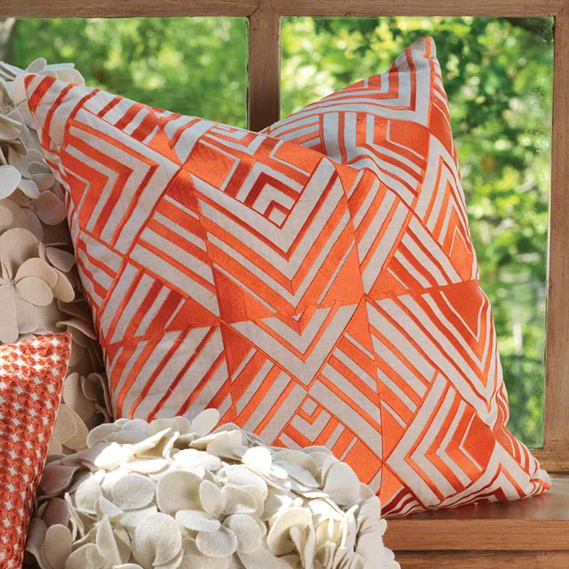 Coral Chevron Pillow, Studio A