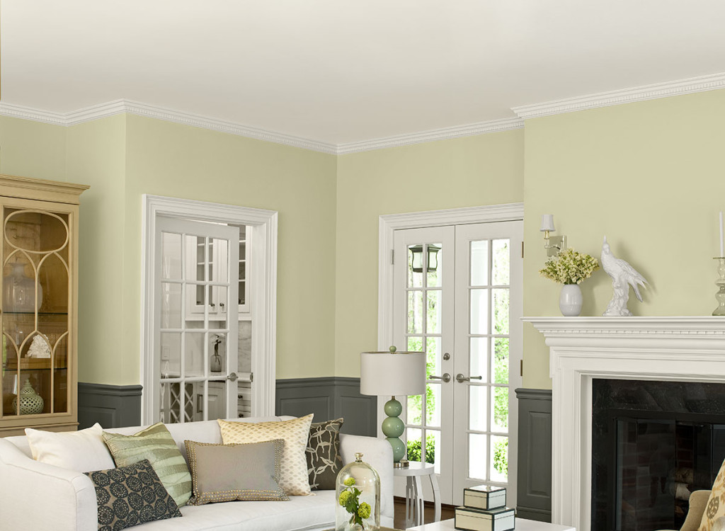 """Simply White"" ceiling, trim, fireplace- Benjamin Moore"