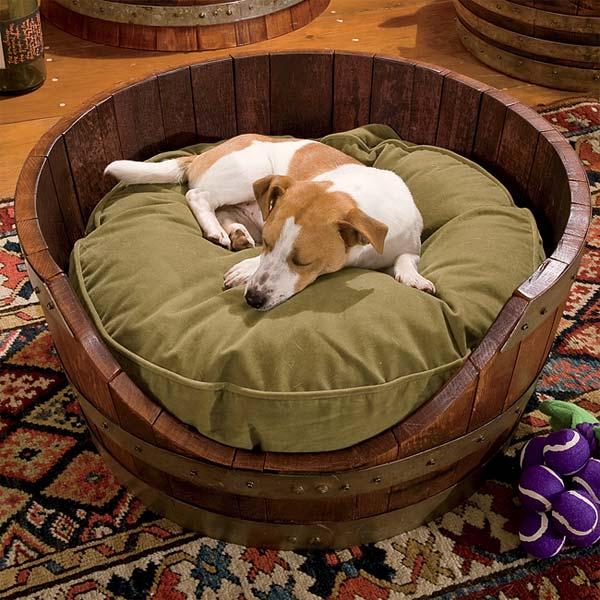 Wine Barrel Dog Bed, Orvis