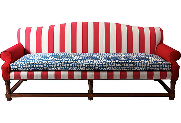 Red, White, and Blue Sofa, Madcap Cottage