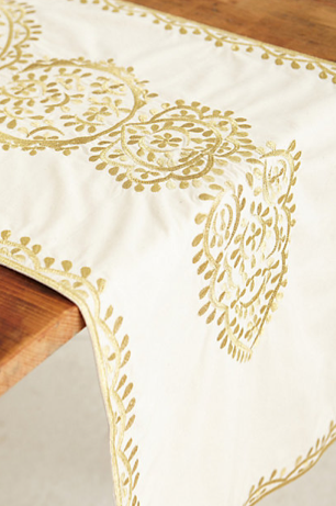 Gold-Embroidered Table Runner, Anthropologie
