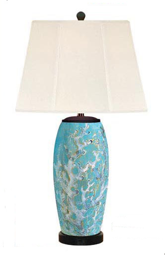 Coral Pearl Porcelain Table Lamp, Blue Barnacles