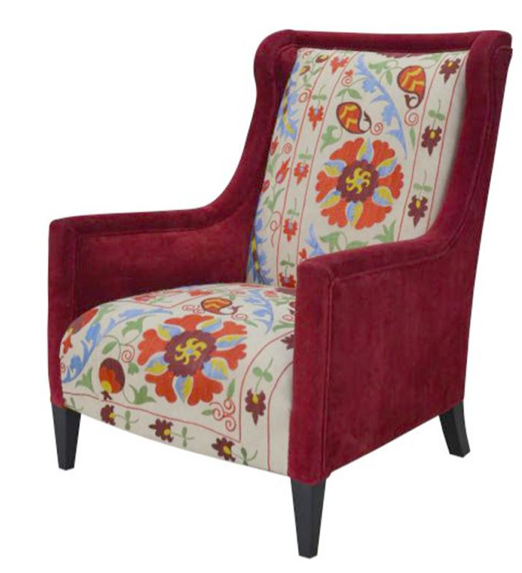 Red Floral Suzani High Back Global Bazaar Arm Chair , Kathy Kuo Home