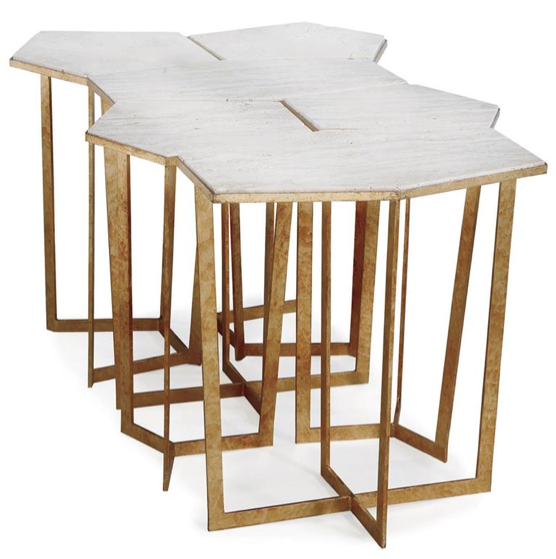 Eastwood Hollywood Regency Travertine Gold Leaf Puzzle Table Set of 6, Kathy Kuo Home