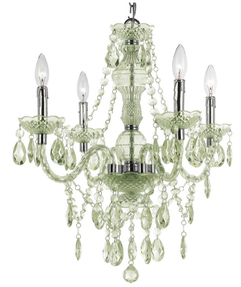 Zoe Global Bazaar Seafoam Green 4 Light Mini Chandelier, Kathy Kuo Home