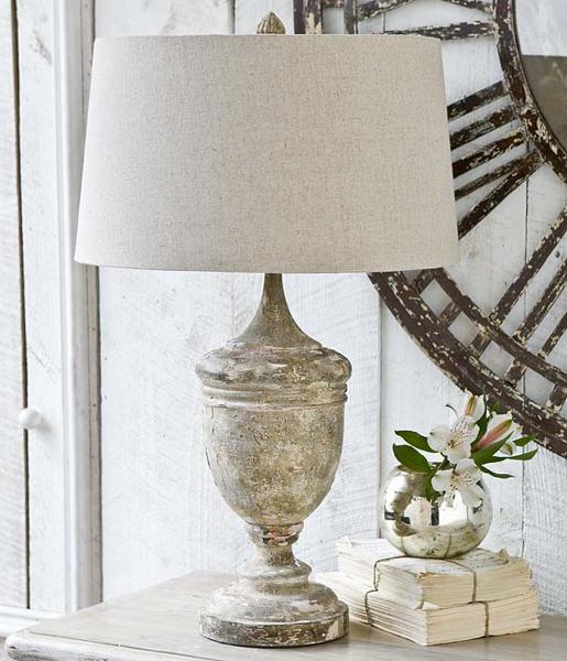 Gesso Wood Vase Table Lamp, Cottage & Bungalow