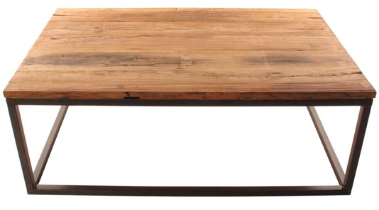 Solid Chunky Reclaimed Elm Wood Large Coffee Table, Kathy Kuo Home