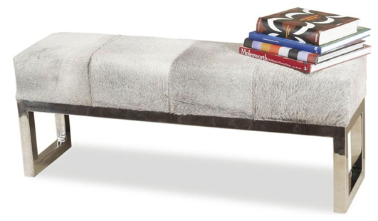Moro Hollywood Regency Grey Hide Steel Bench, Kathy Kuo Home
