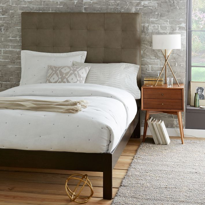 Tall Grid Tufted Leather Bed - Elephant Gray, Jonathan Adler