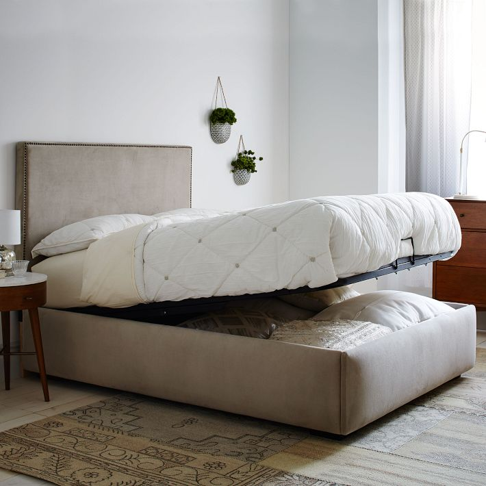 Low Upholstered Nailhead + Pivot Storage Bed, West Elm