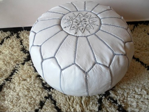 Moroccan Leather Pouf, Art Fire
