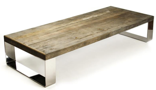 Darren Contemporary Reclaimed Wood Steel Coffee Table, Kathy Kuo Home