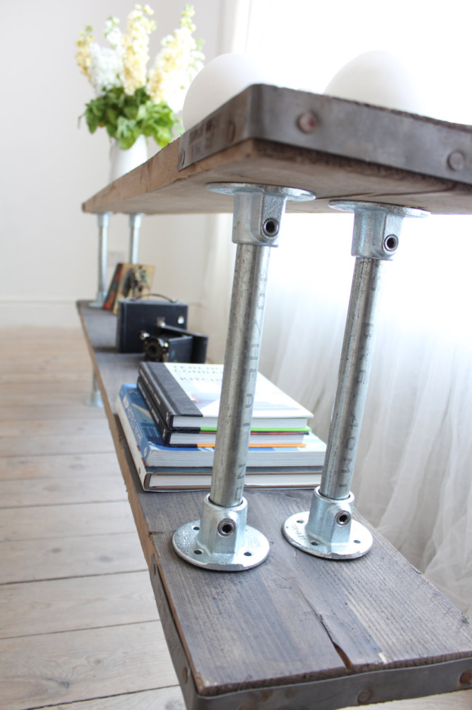 Double Shelf Console Table made with Reclaimed Grey-washed Scaffolding Board and Galvanised Steel Pipe - Bespoke Urban Industrial Furniture, Etsy