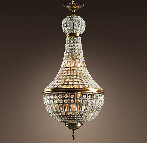 "19th C. French Empire Crystal Chandelier 21"", Restoration Hardware"
