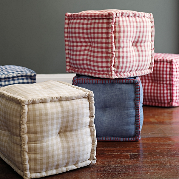 Square Gingham Pouf, Serena & Lily