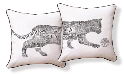 Typography Cat Pillow, Naked Decor
