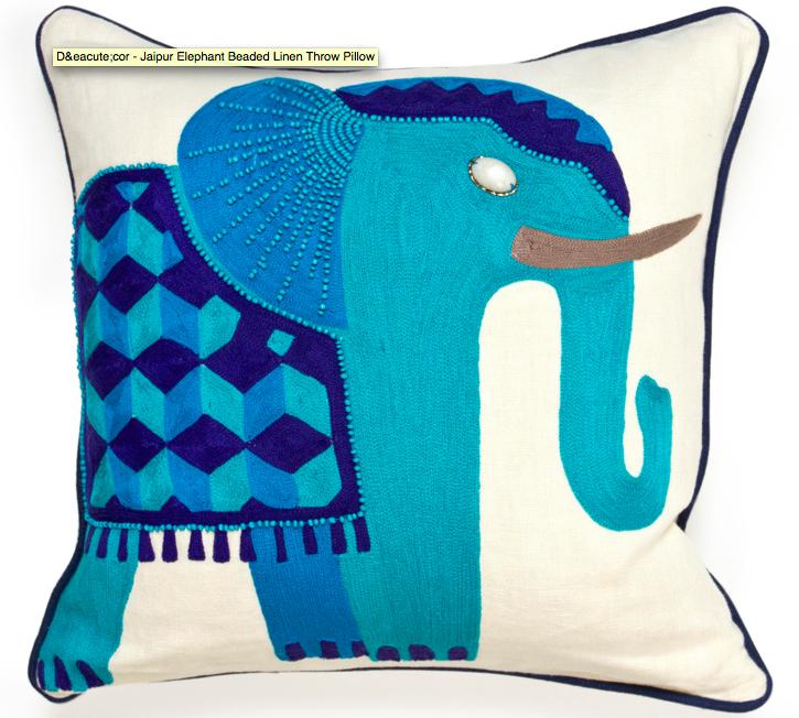 Jaipur Elephant Beaded Linen Throw Pillow, Jonathan Adler