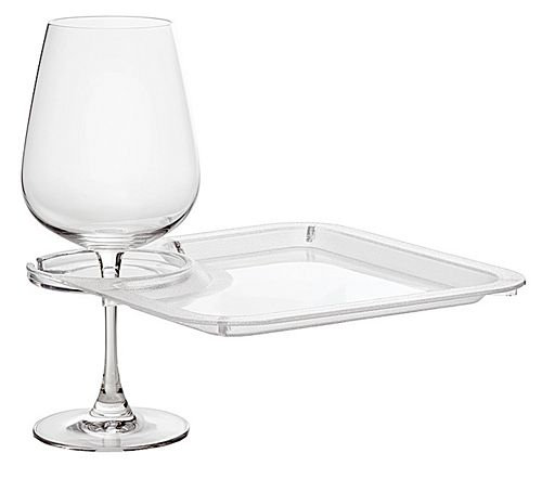 Party Plate With Built-In Stemware Holder, Plastic, Direct Shopping Center