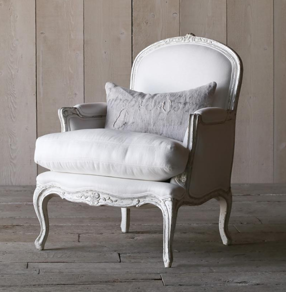 La Belle French Country Style Silver Two Tone White Linen Arm Chair, Kathy Kuo Home