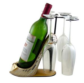 Sleek and Shiny Wine Bottle Glasses Holder Heel Ivory, Jewelry Nanny