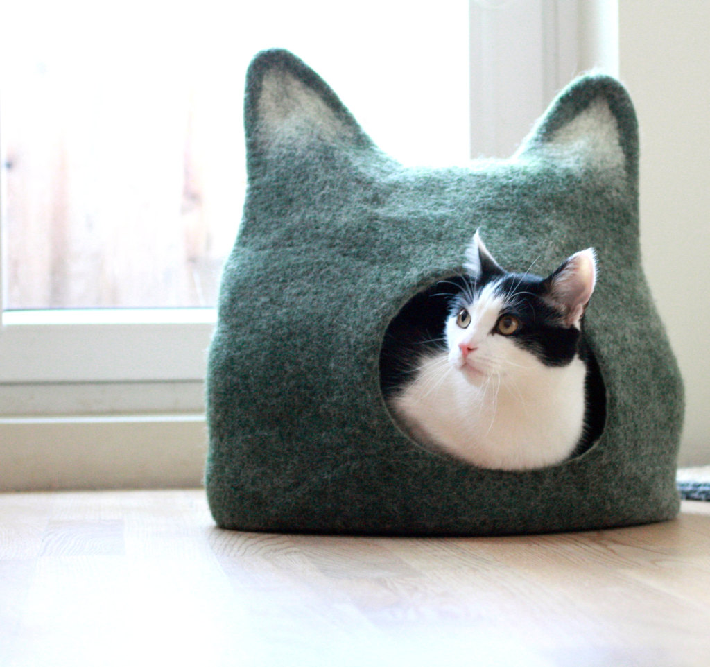 Cat bed - cat cave - cat house - eco-friendly handmade felted wool cat bed - green with natural white - made to order, Etsy