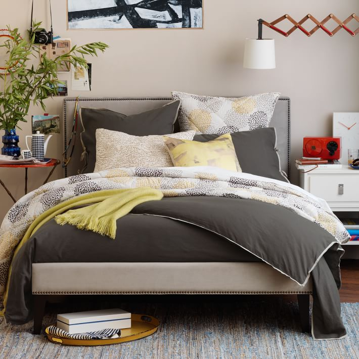 Low Upholstered Nailhead Bed, West Elm