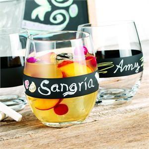 Chalk It Up Stemless Wine Glasses Set of 4 , Classic Hostess