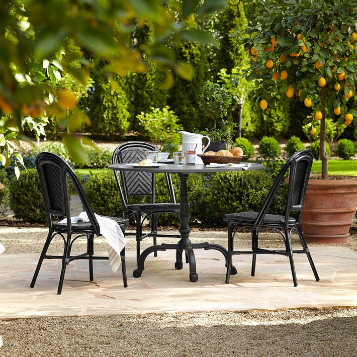 La Coupole Indoor/Outdoor Dining Table, Round Black Granite Top, Williams Sonoma