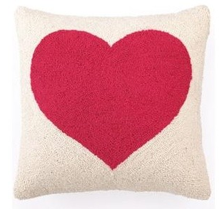 Red Heart Hooked Pillow, Jilly's Happy Home (Available on Houzz)