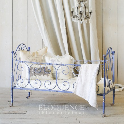 Antique Cobalt Blue Campagne Bed, The Bella Cottage