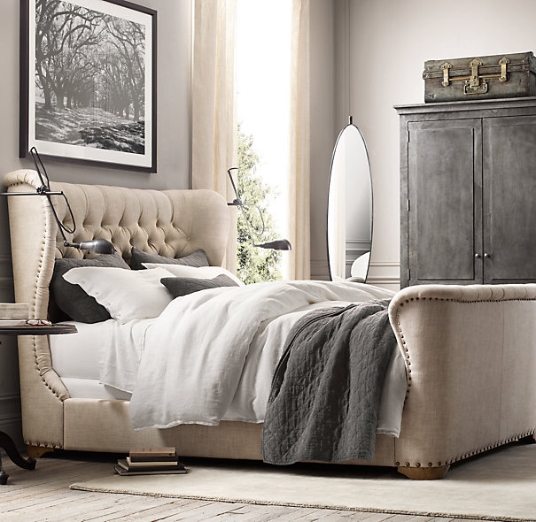 Churchill Fabric Sleigh Bed With Footboard, Restoration Hardware