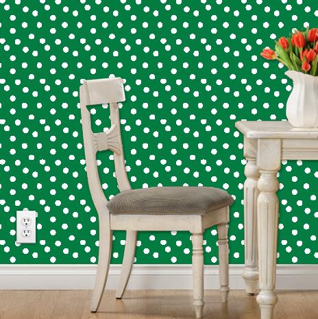 Polka Dots- Kelly Green by Andrea Lauren, Spoonflower