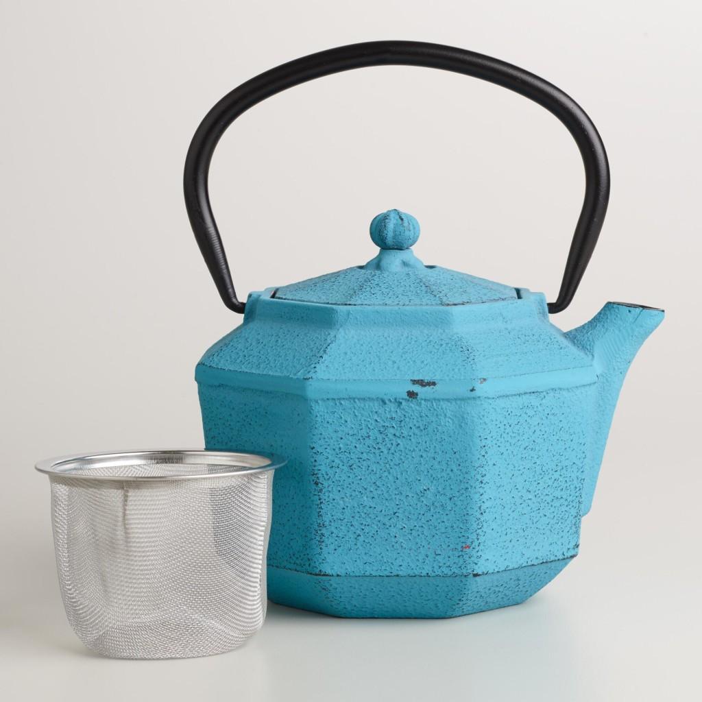 Blue Geometric Cast Iron Teapot- World Market