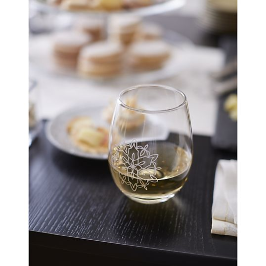 Flurry Etched Snowflake Stemless Wine Glass- Crate & Barrel