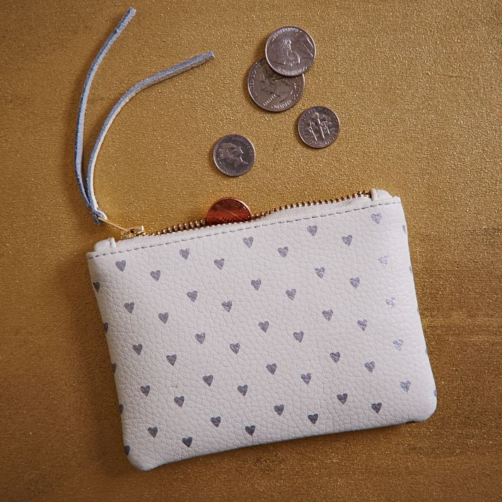St. Jude Metallic Hearts Leather Zipper Case- West Elm